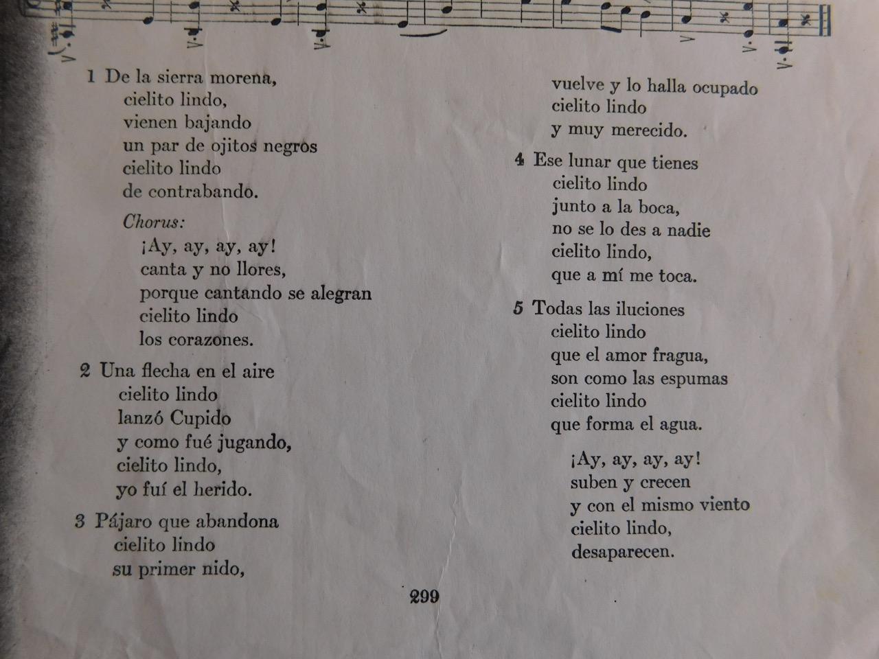 Chords and lyrics cielito lindo lyrics letrag hexwebz Gallery