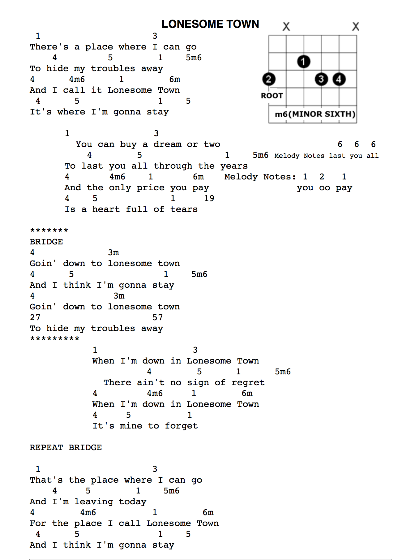 Chords and lyrics lonesome town chords and new lyricsg hexwebz Choice Image