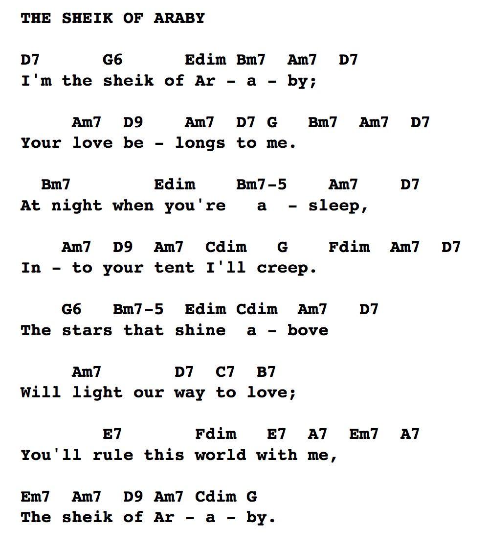 Chords and lyrics sheik of araby hexwebz Choice Image